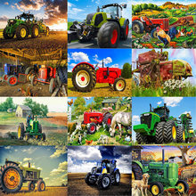 DIY Diamond Painting Tractor, cock Pattern Full Squarer/Round 5d Diamond Embroidery Dog Cat Cross Stitch Kit Diamond Mosaic K41(China)