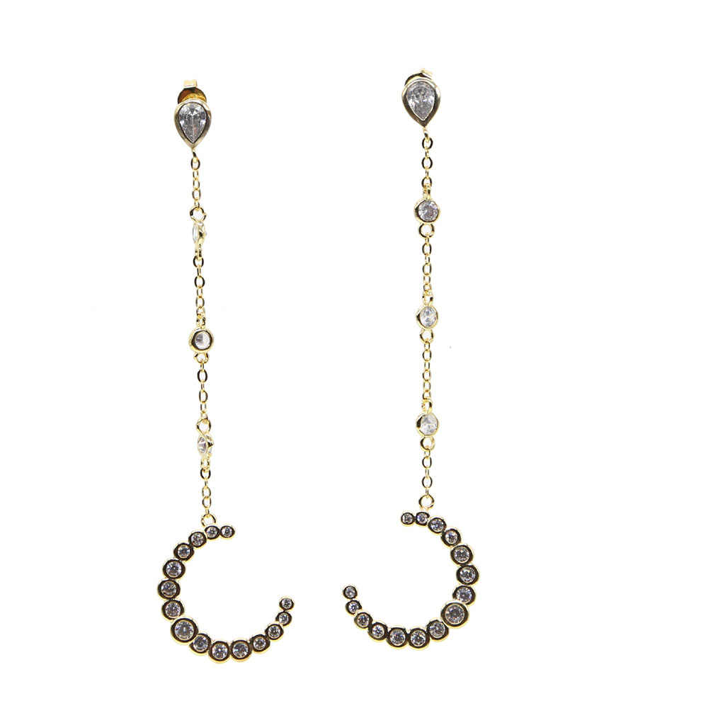 Luksusowa moda biżuteria factory hurt cz półksiężyc długi tassel chain AAA + CZ róg eleganckie kobiety złoty kolor kolczyk