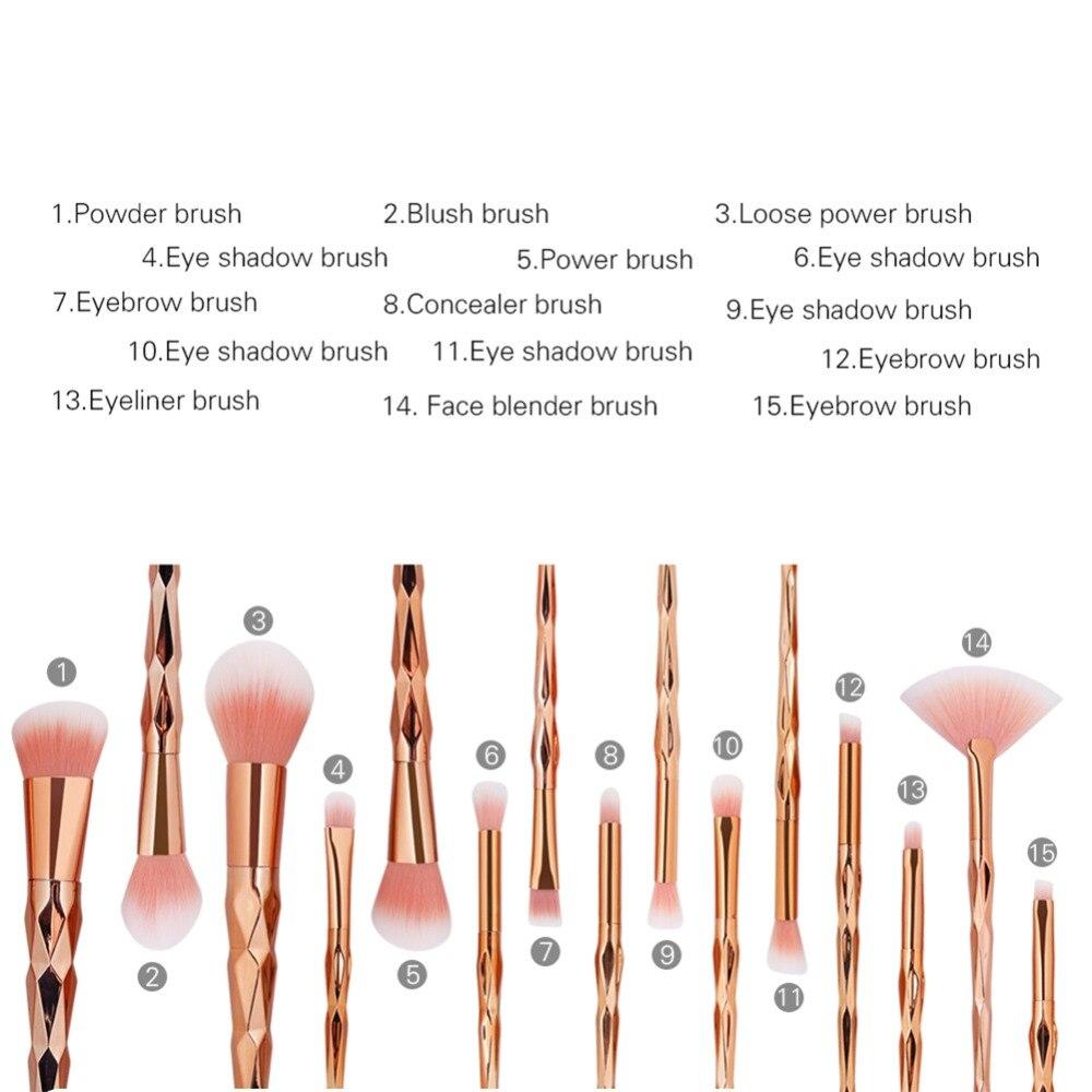 15PCS Βούρτσες μακιγιάζ σετ RoseGold Professional - Μακιγιάζ - Φωτογραφία 4