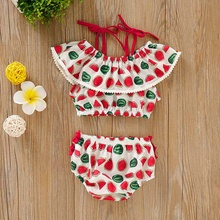 Watermelon Cotton Printing Suit Belt Printed One-character Shoulder Vest Sleeveless Triangle Trousers Baby's Set  Clothing цена 2017