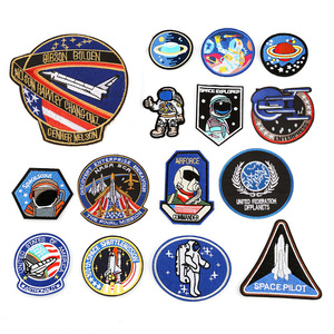 Aeronautics Space Astronaut Iron On Patches Clothing Embroidered Sew on Applique Logo Patch Stripe Badges For Clothes Bag(China)