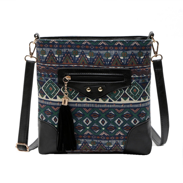 Ethnic Canvas Sling Bag Women Chinese Style Shoulder Bag Female Casual National Bag Bohemian Printing Crossbody Bags 1