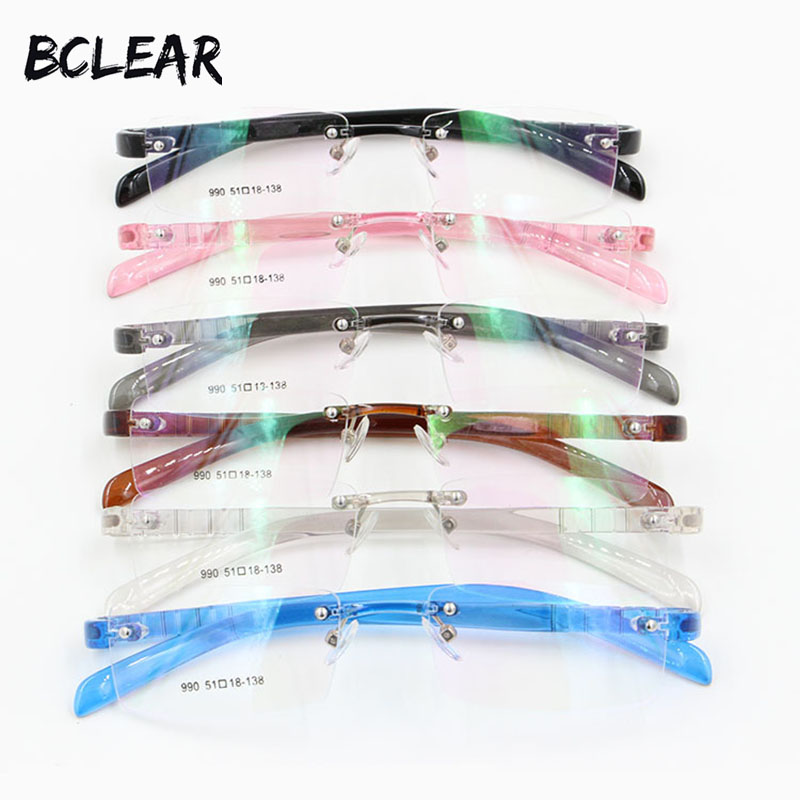 BCLEAR Most popular colorful PC rimless eyeglasses frame for men and women flexible eyewear comfortable wearing TR90 frames