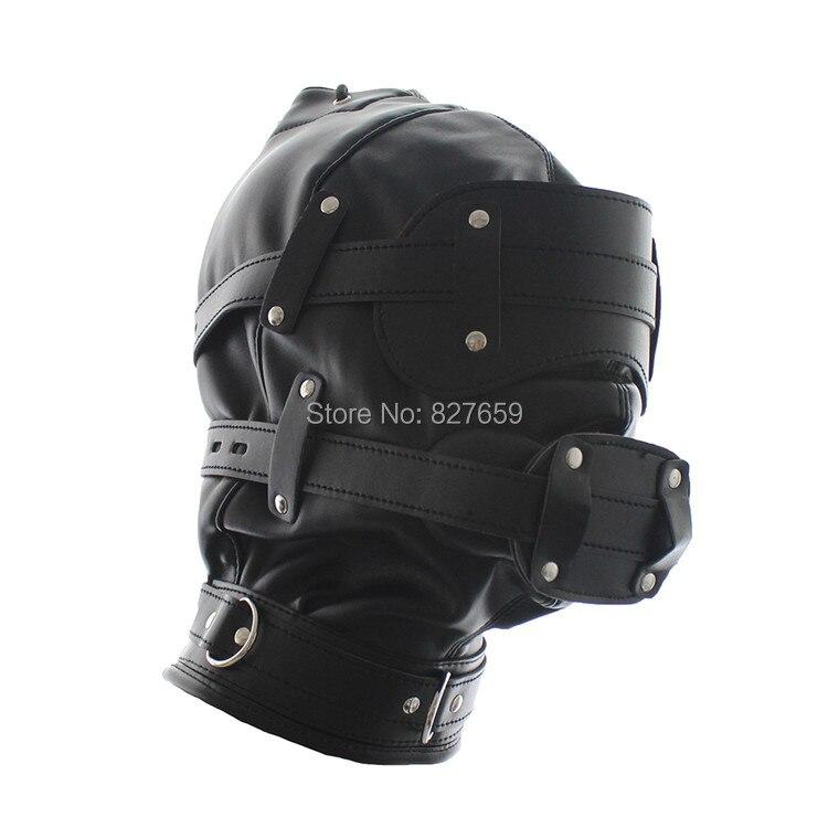 NEW Soft Leather Slave Head Hood BDSM Bondage Mask Removable font b Dildo b font Mouth