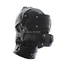 NEW Soft Leather Slave Head Hood BDSM Bondage Mask Removable Dildo Mouth Gag Goggles Fetish Fantasy Sex Toys For Couples