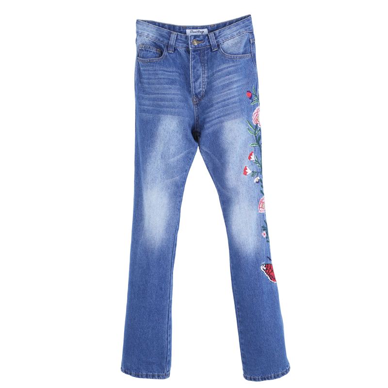 European Style Men Personal Slim Original Designed Vintage Small Flare Jeans Pant Flower Embroidery Man Fashion