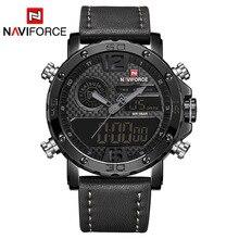 NAVIFORCE montre bracelet pour hommes, de luxe, de marque supérieure, décontractée, à Led, étanche, à Quartz, en cuir, militaire