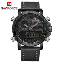 Naviforce relógio masculino de marca famosa e luxuosa, relógio de quartzo led à prova d água, militar de couro, relógio de pulso masculino