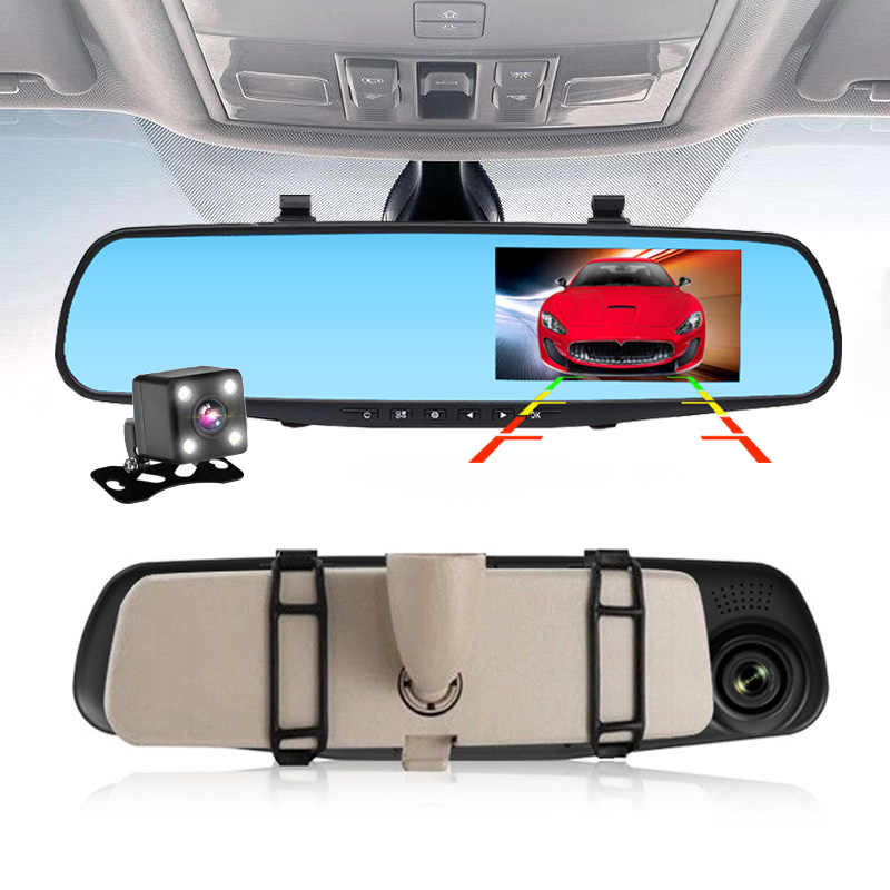 Latest 4.3 Inch Car Dvr Full HD 1080P Rearview Mirror G-Sensor Dual Lens With Rear View Camera Night Vision Auto Video Recorder