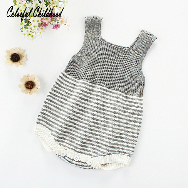 512fc6ec3 Spring baby rompers baby boy clothes sleeveless newborn Knited ...