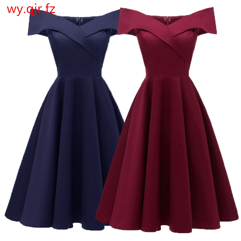 PTH-CD1635#Satin drill wine red Navy blue black short Boat Neck   Bridesmaid     dresses   wessing party   dress   gown prom wholesale women