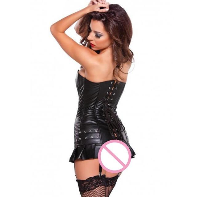 Venta caliente sexy underwear negro club de alta calidad de cuero de imitación corsé de vinilo de oro plata detallada con cordones del corsé bustiers w841010