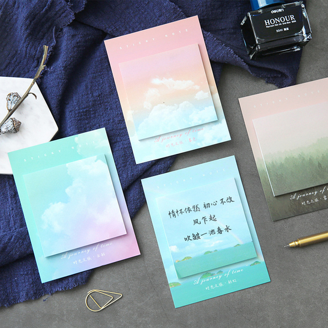 Colored clouds student memo pad planner sticky note paper sticker kawaii stationery pepalaria office school supplies 30 pages 3