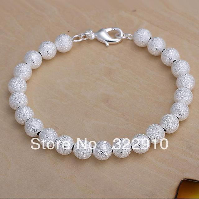 Free Shipping 925 Silver Bracelet 8mm Fashion Jewelry Wood Bracelets