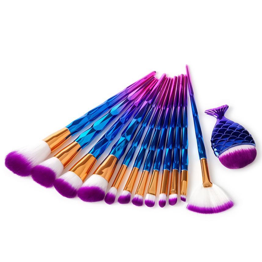 TOP 13Pcs Diamond Makeup Brush Set Dazzle Glitter Big Fish Tail Foundation Powder Brushs professional pincel maquiagem Anne