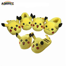 Adult Pikachu Slippers fluffy Shoes Cotton Warm Winter furry slides Plush Soft Cartoon Animal Cosplay Cute