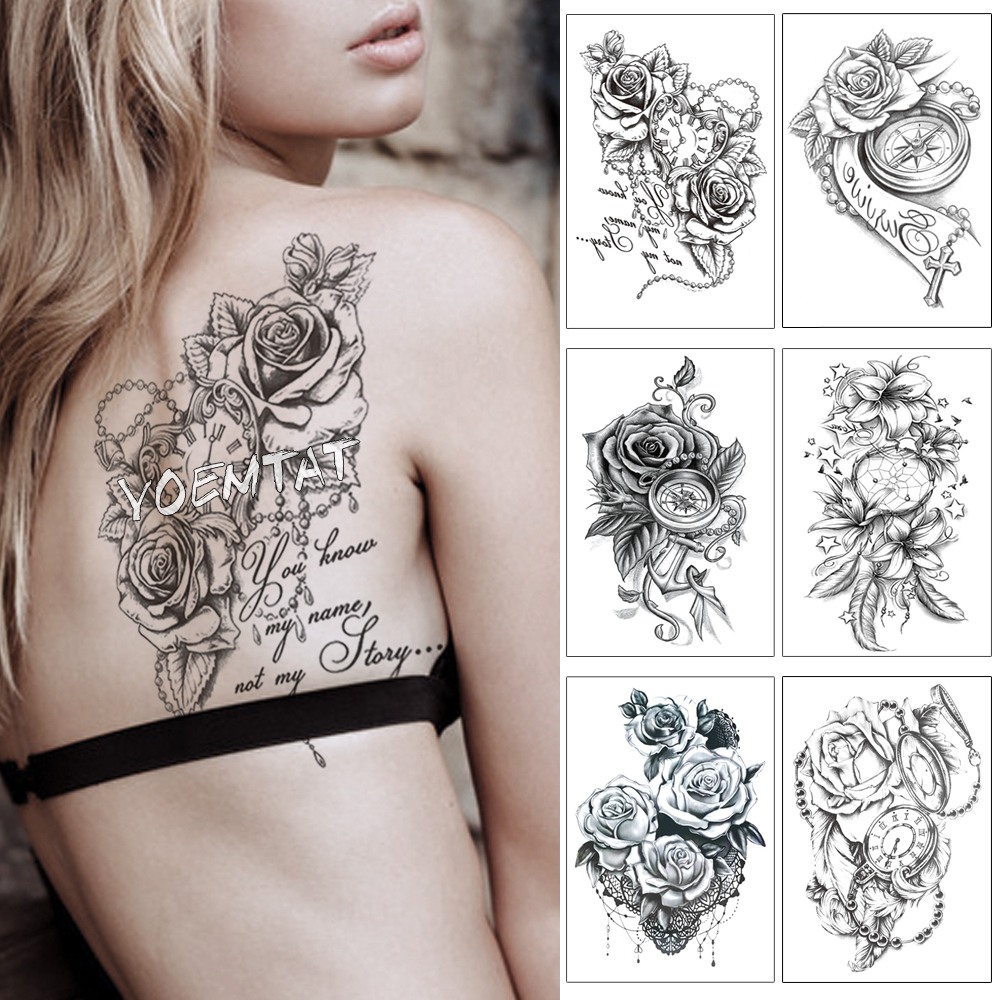 Heart Rose Text Clock Pearl Waterproof Temporary Tattoo Sticker Black Arm Back Flowers Big Tatto Body Art Fake Tatoo For Women