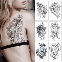 Heart Rose Text Clock Pearl Waterproof Temporary Tattoo Sticker Black Arm Back Flowers Big Tatto Body Art Fake Tatoo For Women(China)