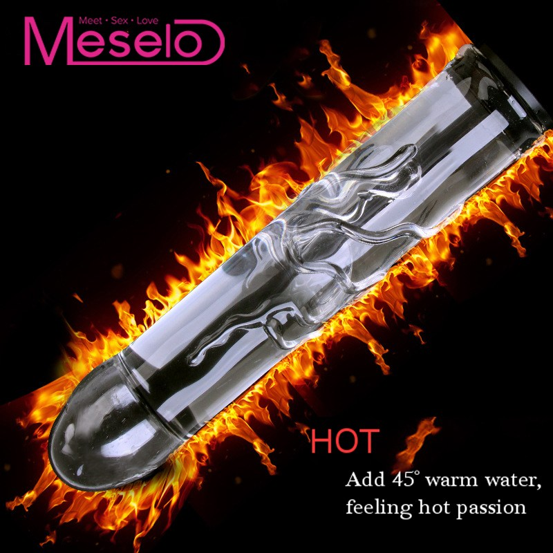 Meselo Novelty <font><b>Glass</b></font> Dildo Can Inject Hot/Cold Water <font><b>Sex</b></font> <font><b>Toys</b></font> For Women,Hollow Add Water <font><b>Glass</b></font> Vibrator Cool Warm Anal Butt <font><b>Plug</b></font> image