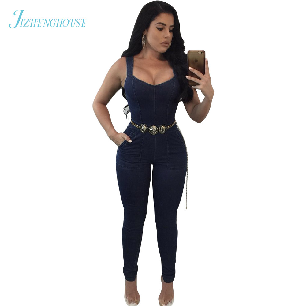 JIZHENGHOUSE New Arrivals Womens Jumpsuits Overalls Denim Jumpsuits Sleeveless Sexy Long Casual Rompers
