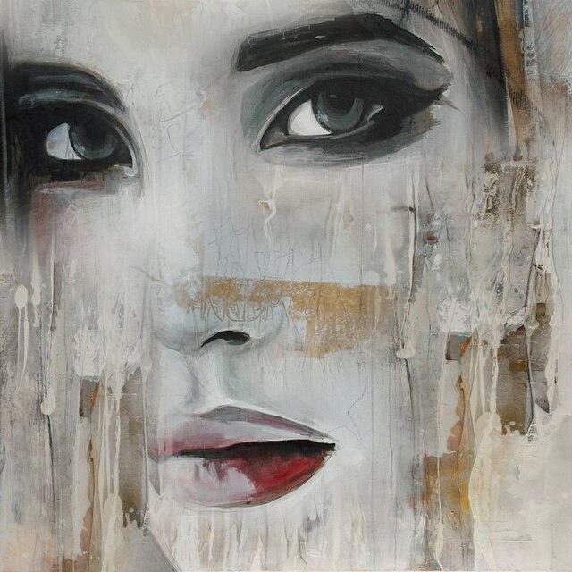 nouveau graffiti rue mur art abstrait moderne femmes visage portrait toile peinture l 39 huile. Black Bedroom Furniture Sets. Home Design Ideas