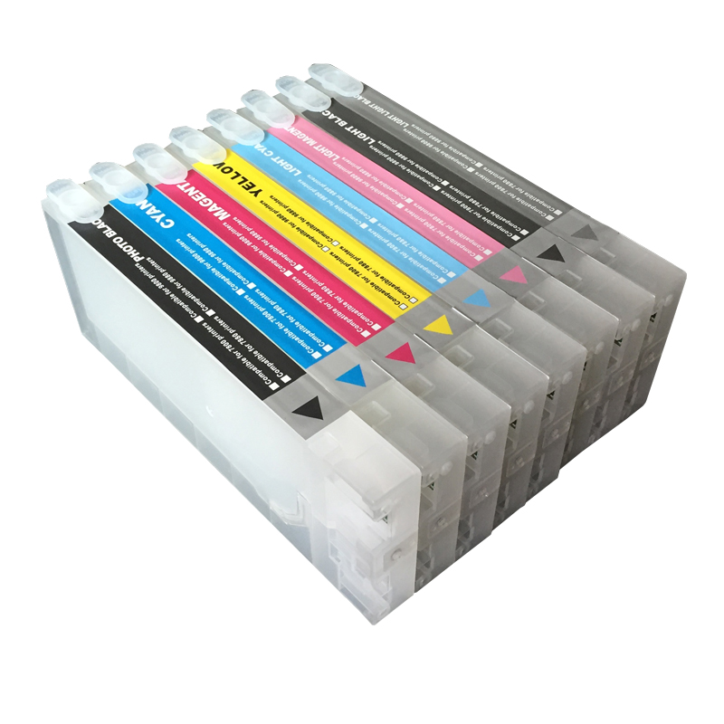 Refillable Ink Cartridge For EPSON 7880 9880 Cartridge For EPSON Large Format Printer With 7880 9880 Chip Resetter and Chips refillable ink cartridge for epson 9700 7700 7710 9710 large format printer with chips and resetters 5 color and 700ml