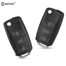 Keyyou 3 Knop Vouwwagen Remote Flip Key Shell Case Fob Voor Vw Passat Polo Golf Touran Bora Ibiza Leon octavia Fabia