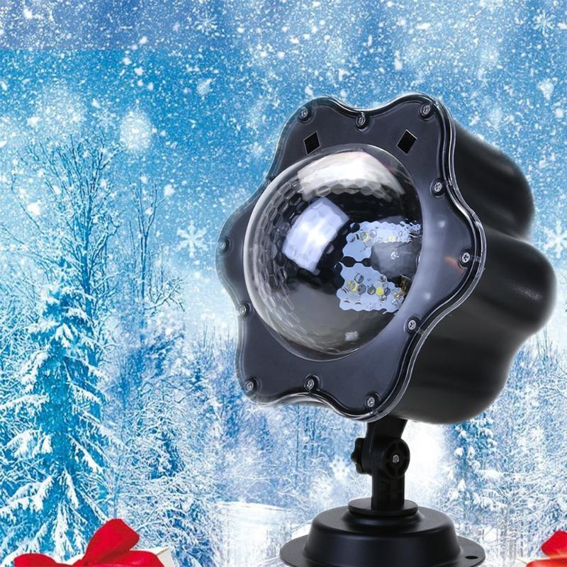 AC100V-240V Christmas Lights Outdoor LED Snowflake Film Projector Light Pattern Lawn Garden Lamp Holiday Decoration US Plug waterproof projector lamps rgbw snowflake led stagelights outdoor indoor decor spotlights for christmas party holiday decoration