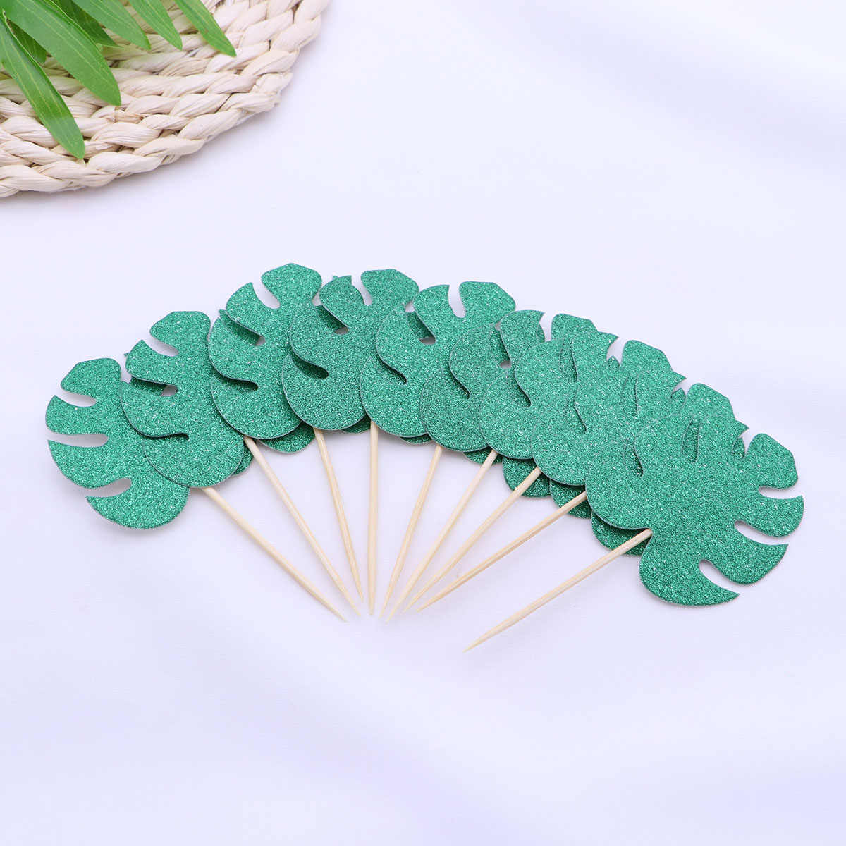 20 adet Monstera yaprak kek Toppers tropikal palmiye yaprakları Cupcake Topper hawaii Luau parti dekorasyon (koyu yeşil)