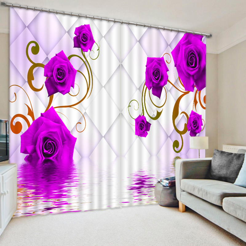 New Europe Blackout Curtains 3D Pink Rose Flowers Series Pattern Fabric Washable Bedroom Curtains Wedding Room for Living Room in Curtains from Home Garden
