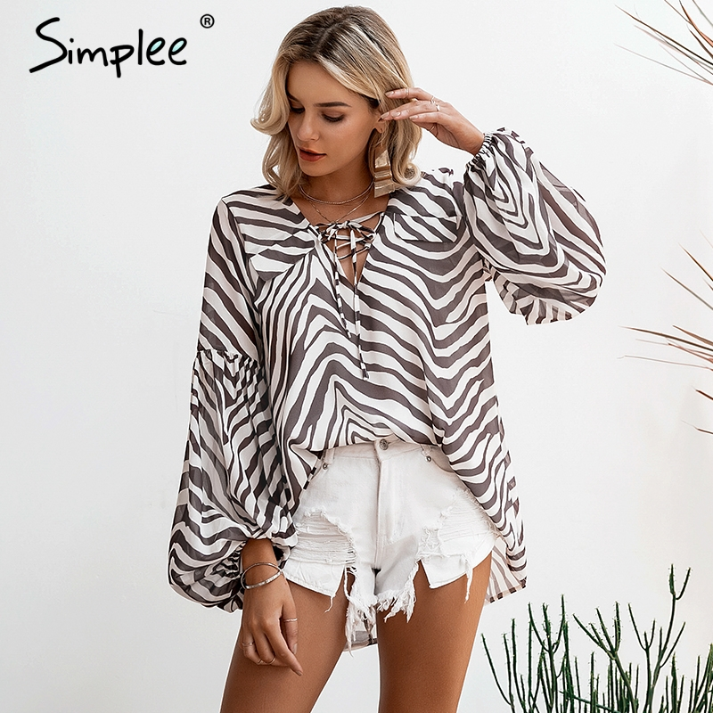 Simplee Zebra stripe printed women   blouse     shirt   Plus size female top   shirt   Elegant v neck lace up ladies blusas   shirt   feminina