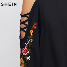 SHEIN Casual Women Tops Crisscross Open Shoulder Embroidery Flare Sleeve Blouse Black Stand Collar Long Sleeve Blouse