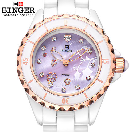 2017 Fashion simple style Binger Ceramic quartz watch women dress wristwatches woman casual watches relogios femininos masculino