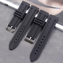 High quality black Silicone strap 20mm22mm24mm mens and womens waterproof sports silicone rubber buckle accessorie