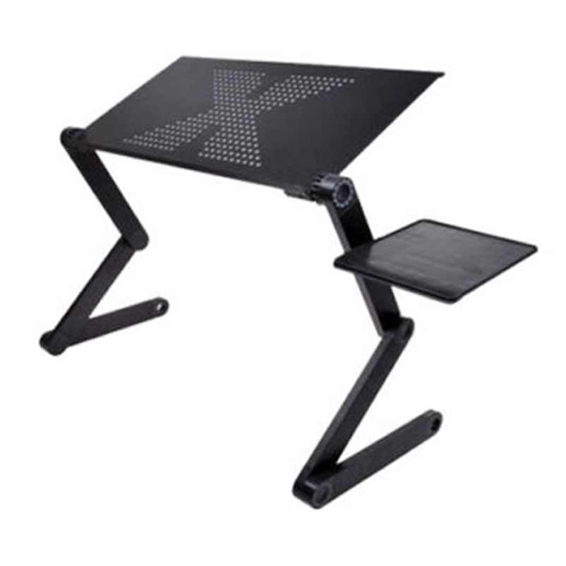 Portable Foldable Adjustable Laptop Desk Computer Table Stand Tray For Sofa Bed Black