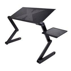 Draagbare Opvouwbare Verstelbare Laptop Bureau Computer Tafel Stand Tray Voor Slaapbank Zwart