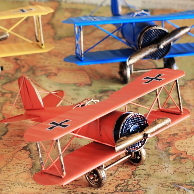 Large Iron Wings Airplane Model Metal Craft Vintage Aircraft Decor Toy Gift  For Home Office Decoration