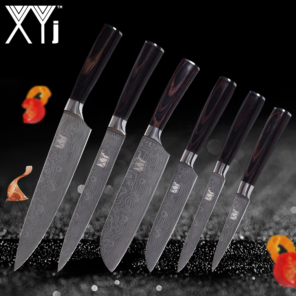 XYj Cuisine Couteaux Chef À Trancher Santoku Utilitaire À Éplucher Damas Veines Acier Inoxydable Couteaux Couleur Manche En Bois Cuisine Outils