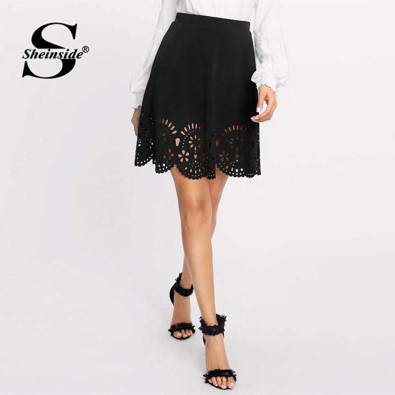 Sheinside Black Elegant Scallop Hollowed Out Skirt Women Spring Casual Mid Waist Flared Skirts Solid Elastic Waist Mini Skirt