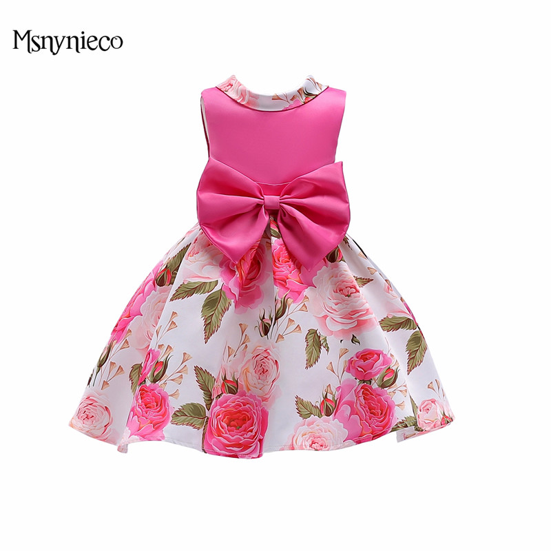 Elegant Summer Girls Dresses Children Party Princess Birthday Dress 2018 Fashion Kids Printed Flower Baby Girl Dress Vestidos muqgew new fashion 2018 children party