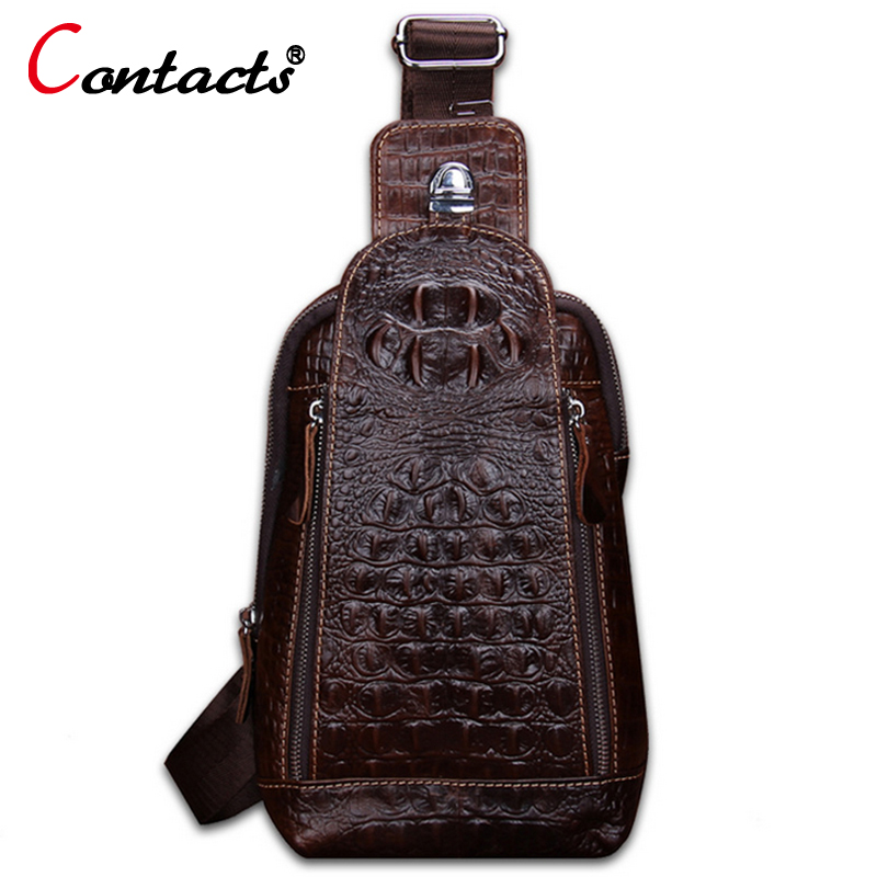 CONTACT'S Genuine Leather Bag Men Chest Bags Casual Back Pack Travel Alligator Crossbody Bags Dollar Price Famous Brand Men Bag