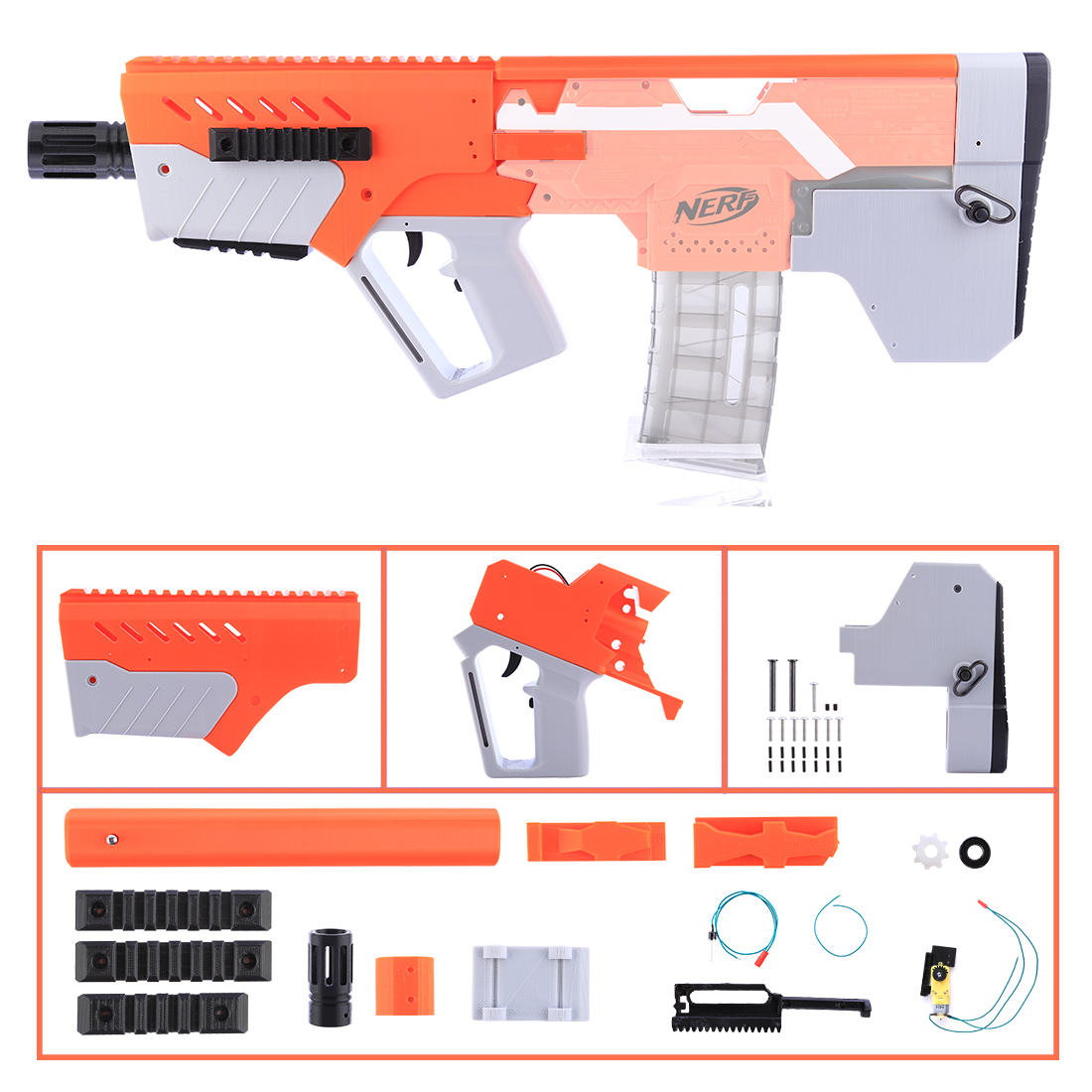 XSW STF Appearance Fully Automatic MXD-1 Refit Kit for Nerf stryfe XSW STF Appearance Fully Automatic MXD-1 Refit Kit for Nerf stryfe