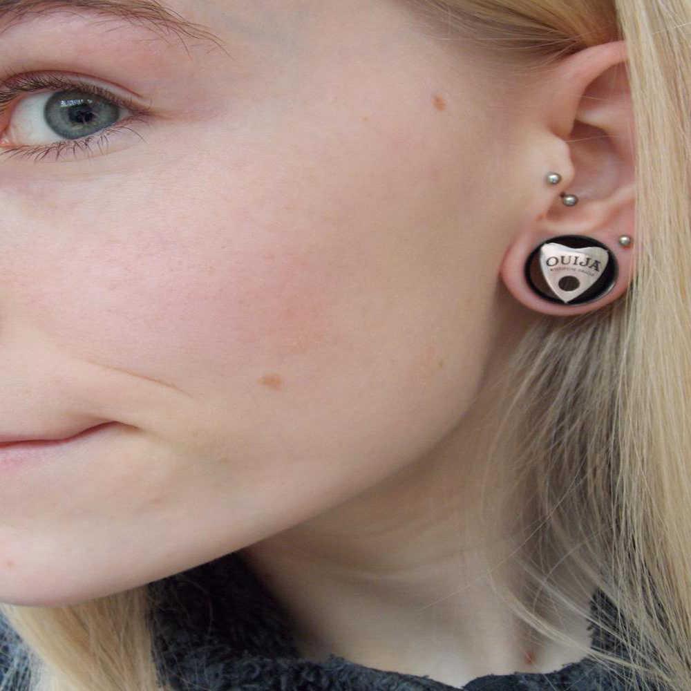 2pcs Ouija Eyelet Single Flared Flesh Tunnel 10mm 30mm Ear Plug Gauges Earrings Hollow Plug Expander Ear Stretching
