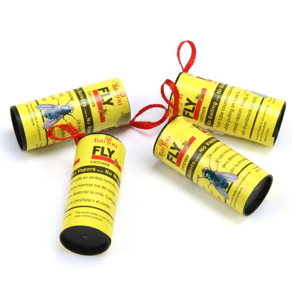 20 Rolls Sticky Fly Paper Eliminate Flies Insect Bug Home Glue Paper Catcher Trap Fly Bug Mosquito Killer Buzz Fly Trap Device in Traps from Home Garden