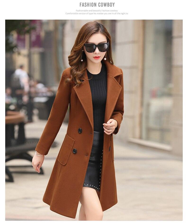 Outerwear Overcoat Autumn Jacket Casual Women New Fashion Long Woolen Coat Single Breasted Slim Type Female Winter Wool Coats 3