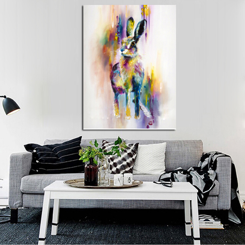 Handpainted Animal Wall Pictures Lovely Cute Rabbit Art Abstract Oil Painting  1