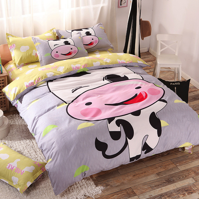 Adorable Cute Cartoon Cow Soft Sanding 4pcs Twin Full Queen