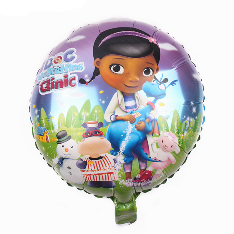 KUWANLE 30pcs/lot 45*45cm Cartoon Little Doctor Balloon Doc McStuffins Foil Helium Balloons Birthday Party Decoration Globo Toys