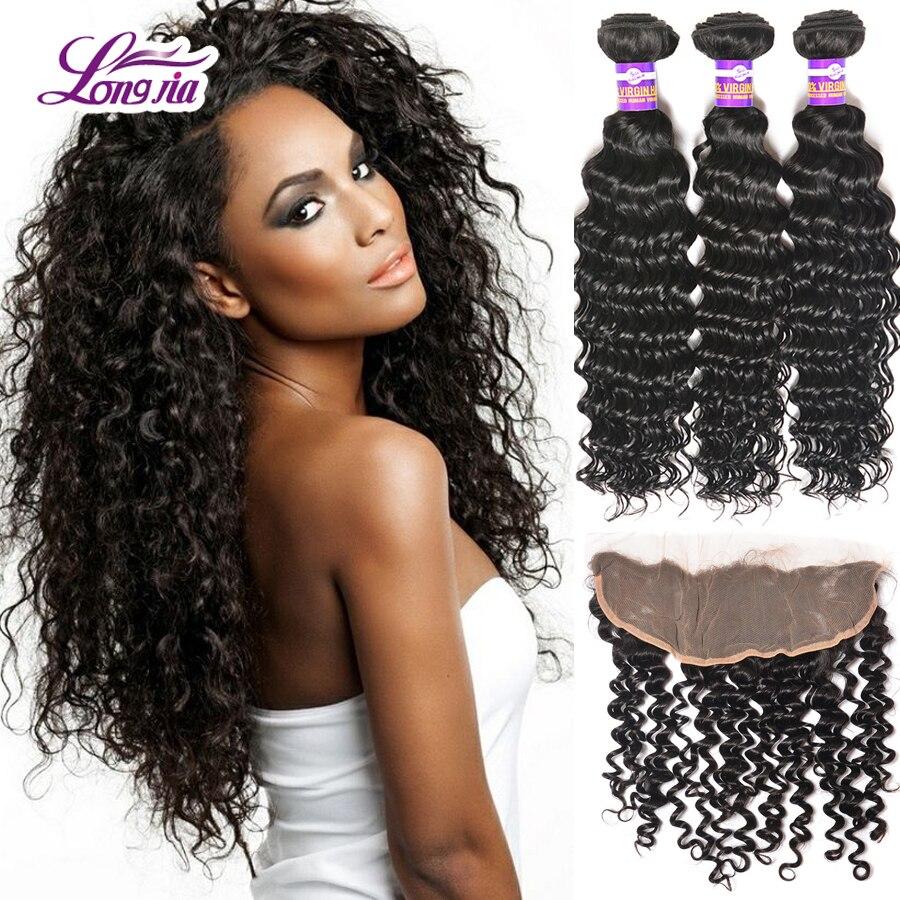 Annabelle Hair Malaysian Virgin Hair 8A Unprocessed 4 Bundles Malaysian Deep Wave With 13x4 Frontal Closure Human Hair Weave