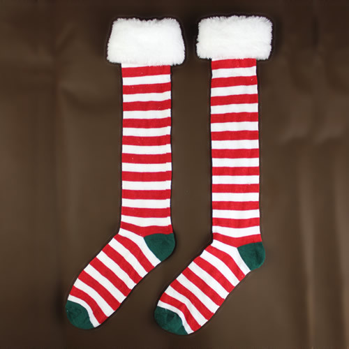 Festivals Plush Red And White Striped Long Barreled Knee Socks Tall Canister Side Small Christmas